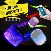 ingrosso altoparlanti mini dente blu-Altoparlante Bluetooth A9 stereo mini Altoparlanti bluetooth portatile blu dente Subwoofer MP3 MP4 player Music Player Outdoor per iphone 6 Speaker