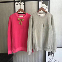 Wholesale Nails Bowknot - Free shipping Bran2017 Autumn spring Women Fashion Bowknot is nail drill embroidery Long Sleeve Tops sweatshirt Lady Female Femme Sweatshirt