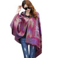 abrigo de encaje kimono al por mayor-Al por mayor-Prendas de abrigo 2016 Mujeres Floral Vintage Hippie Sexy Kimono Abrigo de punto de encaje abierto Tops sueltas Mujeres Bohemia Rebecas de la rebeca
