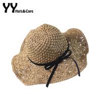 Wholesale handmade straw hats - Wholesale- 2016 Straw Sunhats For Women Handmade Sun Hats With Wide Brim Girls Summer Beach Caps Black Bow UV Sun Visor Hat YY60165