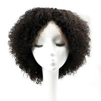 peruca de 12 polegadas ondulada venda por atacado-Glueless Lace Front Virgem Perucas de Cabelo Humano Perucas Cheias Do Laço Afro Kinky Curly Estilo Parte Livre Parte Do Meio 10-20 polegadas Perucas Africano Americano
