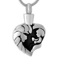 Wholesale Kids Rhinestone Pendants - IJD9463 Mother Hold Kid Stainless Steel Cremation Pendant Necklace Memory Funeral Casket Ashes Keepsake Urn Necklace