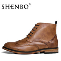 Wholesale SHENBO Brand New England Brogue Style Boots High Quality Fashion Men Boots Handsome Men Ankle Boots
