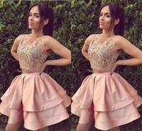 zweiteiliges abschlussballkleid einzigartig großhandel-Zweiteilige kurze Heimkehr Kleid erröten rosa mit Spitzenapplikationen kurze Ballkleider Abschlussfeier Kleider einzigartig