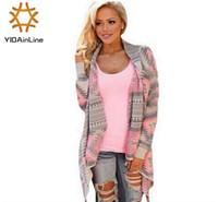 Wholesale Knitted Fashion Shrug - Wholesale-Women Sweaters Cardigan Coat Autumn Winter 2016 Printed Shrug for women Sweater Irregular Loose Blouse Geometric Pattern Knit