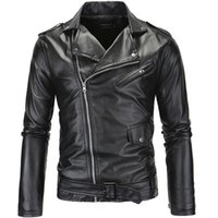Wholesale Leather Motorcycle Jacket Small - New Casual Slim Men's Leather Jacket Fashion Mens Zipper Solid Color Turn-down Collar Men Motorcycle Jacket Leather Coats XP09