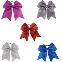 Wholesale Hair Bows Blue Yellow - Big Glitter Cheer Bow For Cheerleader Girl Plain Bling Cheerleading Bows For School Children Kids Boutique Cheer Hair Bow