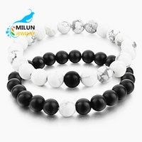 Wholesale White Howlite Beads - Distance Bracelets for Lovers-2pcs Black Matte Agate & White Howlite 8mm Natural Stone Beads Couple Bracelet