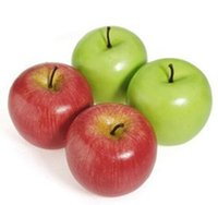 Wholesale Green Apple Decor - Wholesale-2016 New Arrival House Decoration Decor Fake Apple Artificial Fruit Model Kitchen Party Decorative Green Red Apple Mold 1PC