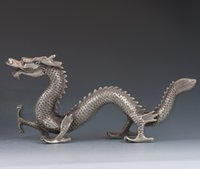 Wholesale Chinese Silver Statue - Collectible Chinese Tibetan silver Hand-carved Dragon Statue