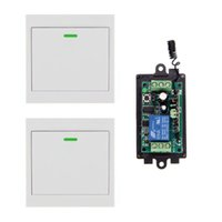 Wholesale Locking 12v Switch - DC 9V 12V 24V 1 CH 1CH RF Wireless Remote Control Switch System Receiver+2X Wall Panel Transmitter,315 433.92 MHZ Self-lock