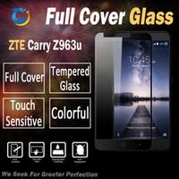 ingrosso zte grand x copertine-Vetro temperato a copertura totale per ZTE Carry Z963u DUO LTE GRAND X MAX 2 Z988 con imballaggio in plastica per la vendita al dettaglio