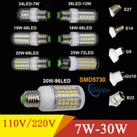 Wholesale E14 Led Candle Lamp 7w - LED Bulb E27 E14 E12 B22 LED Lamp 5730 SMD LED Lights Corn Bulb 7W 9W 12W 15W 18W 24W Chandelier Candle Lighting