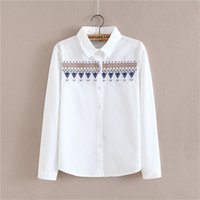 Wholesale Order Chiffon Blouse - YIMOSI Autumn Women Embroidery Blouse Shirt 2017 Casual Cotton Long Sleeve Female Shirts Lady White Tops Korean Blouse Blusas 1 order