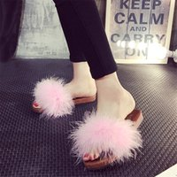 Wholesale Warm Fluffy Slippers - Wholesale- Slippers Fur Furry Open Toe Women Casual Flat Shoes Soft Warm Fluffy Slip On Cute Home Floor Slippers Autumn Winter