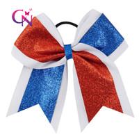 Wholesale Grosgrain Ribbons For Kids - 7 inch Glitter Red Blue White Cheer Bow For School Girl Glitter Grosgrain Ribbon kids Cheerleader Bows
