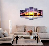Wholesale Oil Painting African - Oil Painting hand painted Oil Painting Grassland African sunrise Home Decoration Modern Landscape Oil Painting on canvas