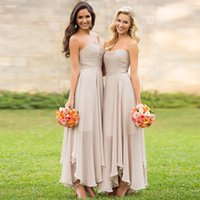 Wholesale Matron Dresses - Champagne A Line Bridesmaid Dresses Strapless Chiffon Soft Matron Of Honour Wedding Guest Dresses with Charming Pleats