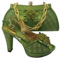 Wholesale Dresses Elegant For Office - Elegant rhinestone bowtie flower design high heel 11CM african green shoes match handbag set women pumps and bag for dress MM1044