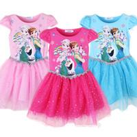 Wholesale Girls Red Gauze Dress - Kids Frozen Gauze Sequins Dress Girls short sleeve lace Princess dress 3colors 6sizes for 2-5T