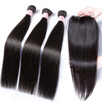 Wholesale Human Hair Extensions Processed - Free Top Lace Closure Within 3 Bundles Virgin Indian Hair Body Wave Human Hair Extensions Free Shipping