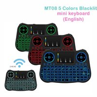 Mini teclado sem fio Backlit MT08 2,4 GHz Touchpad Teclado USB Air Mouse Controle remoto para Android TV Box Tablet Pc PK i8