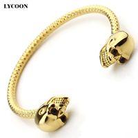 Wholesale Gold Skull Head Bracelets - HOT SALES titanium steel cuff bangles stainless steel skeletion unisex cuff bracelet for women luxury skull head design wrist bangle
