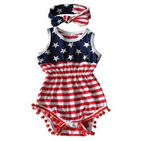 Wholesale Flag Romper - American Flag Baby Girls Romper Cotton Summer Sleeveless With Headband Independence Day Christmas Infant Jupsuit Girl Clothing
