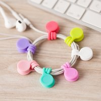 Wholesale silicone cable winder - Hot Sell Multifunction Management Silicone Earphone Headphone Cord Winder USB Cable Holder Strap Magnetic Organizer Gather Clips Colorful