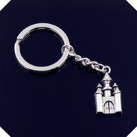 nuovo-fashion-men-30mm-keychain-DIY-metallo-porta-catena-vintage-castello-casa-28-14mm-argento-argento anelli