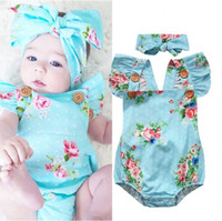 Wholesale kids costume rompers - 2017 Summer Baby Costume Toddler Rompers Boutique Outfits Girl Children Clothing Kids Fashion Onesies Outfit Floral Jumpsuit Children Clothe