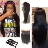 Wholesale Buy Closure - 7A unprocessed virgin brazilian hair with closure lace frontal closure with bundles straight Cheap Human Hair with frontal buy human hair
