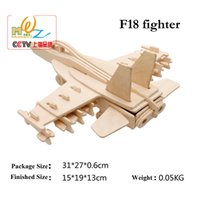 Wholesale Wood Toys Military - 3D Wooden Puzzles F18 Fighter Military Model Assembly Jigsaws DIY Educational Toys Gift For Kids