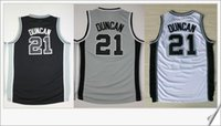Wholesale Men S Vests For Sale - #21 Tim Duncan Mens Stitched Embroidery Sewed American basketball Vests shirts Uniforms Vintage Sports Team Pro Jerseys Sz S-XXXL For Sale