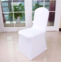 fildişi spandex toptan satış-Sıcak satış, fildişi / Siyah / Beyaz Spandex Streç Sandalye Kapak Düğün Ziyafet Parti Otel Süslemeleri Için Likra