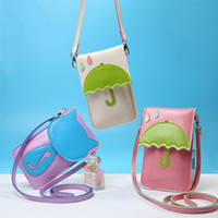 Wholesale Wholesale Ladies Umbrellas - Wholesale-New Fashion Cartoon Cat Umbrella Women Mini Small Zero Purse Lady PU Leather Crossbody Girl Shoulder Messenger bag CC3019
