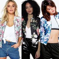 цветочные жакеты дамы оптовых-Зимние женские куртки для женщин осень с длинными рукавами мода цветы джинсовая куртка пальто женская одежда дамы блейзер