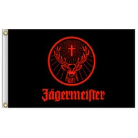 Wholesale Giant Flags - 3x5ft Jagermeister Giant Large Black Flying Flag Banner Vivid Color and Weather Resistant 100% Polyester and Brass Grommets