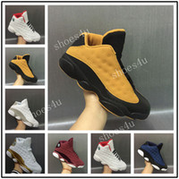 Wholesale Money Split - 2017 AIR Jump men retro 13 XIII low pure money Navy blue Chutney black gold wheat Men basketball shoes black sports sneakers size 8-13