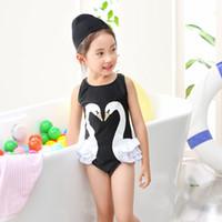 Wholesale Swim Wear 3t Girls - 2017 Girls Swimsuit 2 Cartoon Kids Swimwear with Cap 3 Parrot Swan Flamingo 4 big girl 5 bathing suit 6 One Piece swim wear 7 8 years old