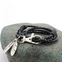 Wholesale Bracelets Leather Feather - Wholesale-New arrival Fashion Jewelry PU Leather Charm Friendship Bracelets & Bangles Feather Accessories Men Jewelry Free Shipping