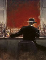 Wholesale brent lynch - Framed Brent Lynch: Cigar Bar,Pure Hand Painted Modern Wall Art Oil Painting On Canvas.Multi sizes Ab151