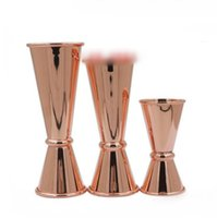 Wholesale Measuring Cup Steel - Stainless Steel Jigger Shot Glasses Rose Gold Wine Glasses Practical Measuring Cups Ounce Tumbler Graduated Glass For Kitchen Bar OOA1865