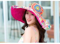 şapka güneş yanı toptan satış-Moda Her Iki Tarafın Parlak Giyebilir Renkli Plaj Şapka Açık Güneş Şapka Katlanabilir Yaz Bez Şapka