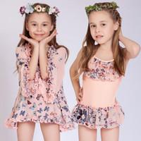 Wholesale Hot Bikinis For Kids - Big girls 2pc set swimwear kids butterfly print Hot spring skirt bathing suit shirt blouse+bikini wrinkled swimsuit for 4-13T