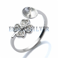 Wholesale Diy Jewellery Set - Ring Settings Blank Base Lucky Clover Four Leaves 925 Sterling Silver DIY Jewellery Findings Pearl Mounting for Pearl Party