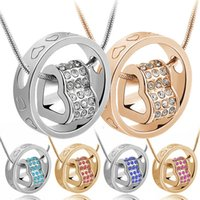 Wholesale Silver Ring Singapore - Women's Fashion Crystal Chain Rhinestone Gift Love Heart Pendant Necklace Silver Gold Ring Necklaces For Wife Daughter
