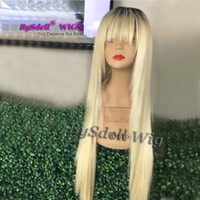 Wholesale blonde tone lace wigs resale online - Long Straight Synthetic hair Front Lace Wig Two Tone Black Root Ombre Blonde Color Hair Fringe Style Lace Front Wigs for Fashion Women