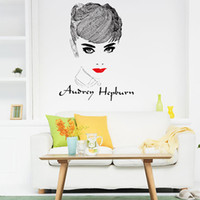 Wholesale Audrey Hepburn Wall Sticker - Andrey Hepburn Waterproof Stickers Modern Stickers For Walls Wall Decal Decoration DIY Wallpaper Removable Wall Decoration Audrey Hepburn