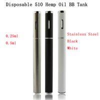 Wholesale New T2 - New Disposable 510 Hemp Oil Vaporizer Thick CBD Oil BB Tank T1 T2 0.25ml 0.5ml BBtank Vape Pen electronic cigarette